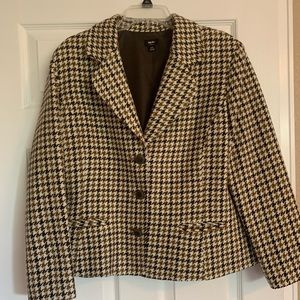 Womens Brown Houndstooth Jacket